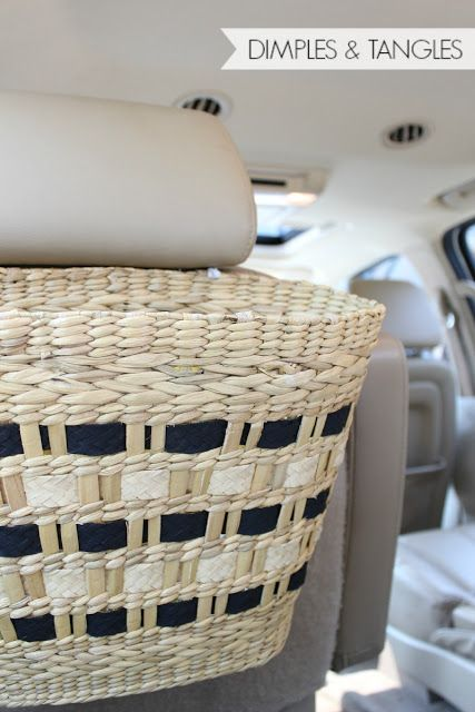 thrift store straw purse makeover to stylish car trash can - I've got a couple purses I am not using anymore!!