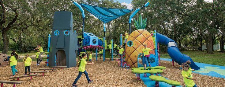 aire de jeux extérieur idée inspirée par Bob l'éponge #jardin #garden #design #exterior #kids