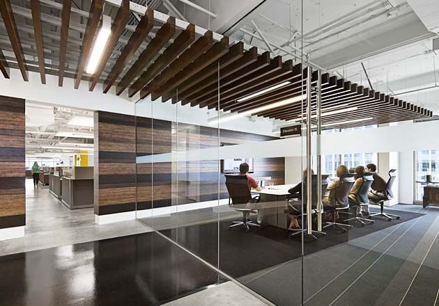Floating Wood Panel Ceiling Penetrating The Glass Walls