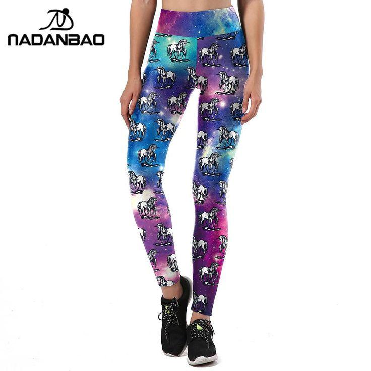 NADANBAO New Design Women Leggings Unicorn 3D Printed Sporting Leggins  Graffiti Love Shape Legging Fitness High