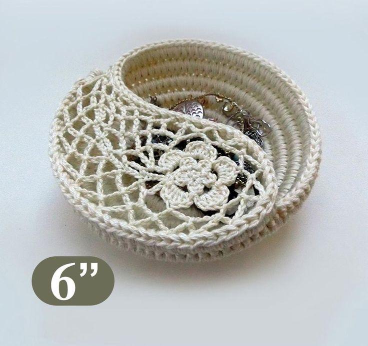 (4) Name: 'Crocheting : Crochet Bowl -Yin Yang jewelry dish 6'