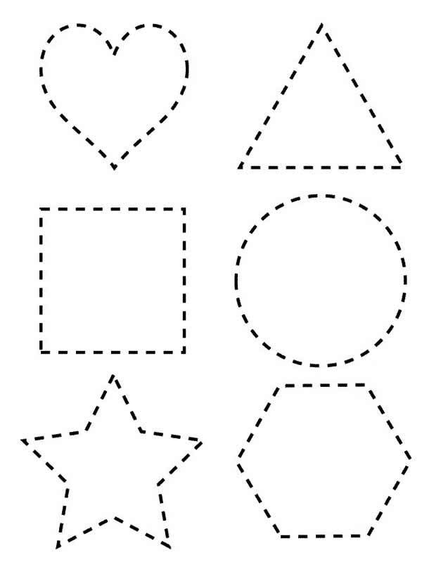 Dotted line shapes coloring page netart teach fine for Shape tracing templates