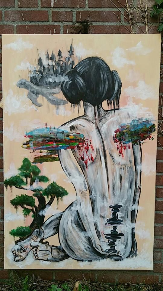 Original Acrylic Painting on Canvas ( 75 x 115 cm ) Modern surrealism Zen Garden Protector by HeartCoreDelirium on Etsy