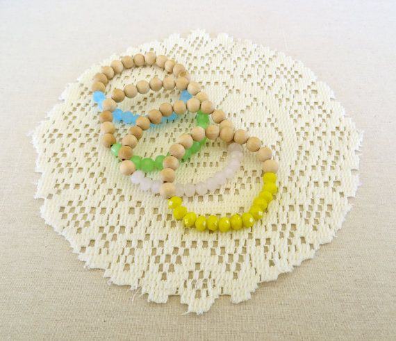 Pastel Stretchy Beaded bracelet  Wooden/Glass by MITCHandMOODI, $12.00