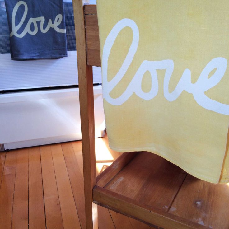 Yellow Love printed onto Yellow 100% cotton flour sack tea towel
