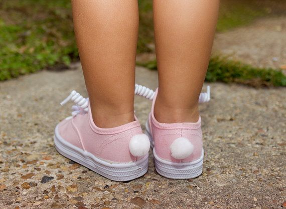 pink bunny sneakers with a puffy tail on the back... so cute for a little girl at Easter....so sweet!