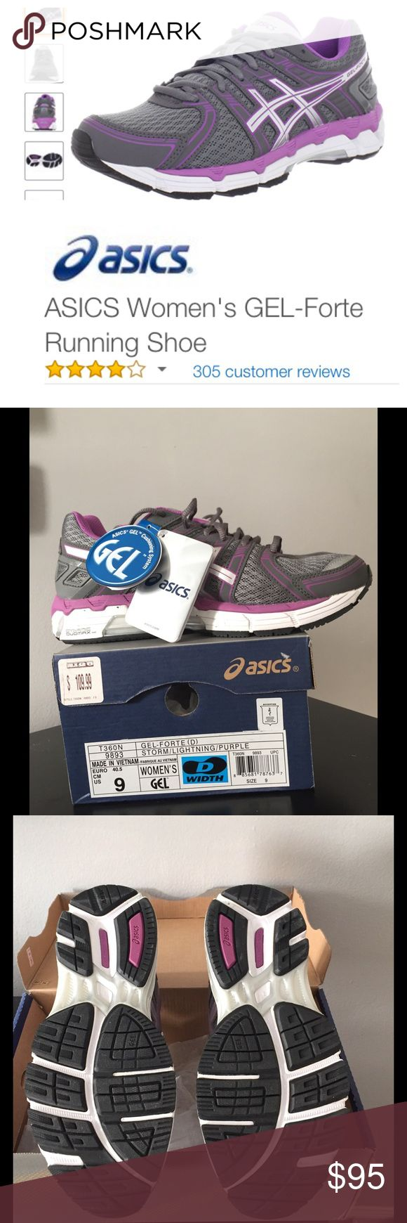 "Asics Gel-Forte Running shoe, 9D, NIB! Amazing running shoe.  Prepare to walk on air.  Approximately 1"" Dynamic Duomax sole with Asics Gel Cushioning System.  The colors are Storm/Lighting/Purple.  These are a women's size 9 D Width.  These running shoes in this size and in these colors are very very hard to find.  The shoes are brand-new. They have never been worn and they are still in the original box with the original tags attached. Retail is $110. Asics Shoes Athletic Shoes"