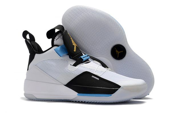 "e783394cfef 2018 New Air Jordan 33 ""Mike Conley PE"" White/Black-Blue Shoes in ..."