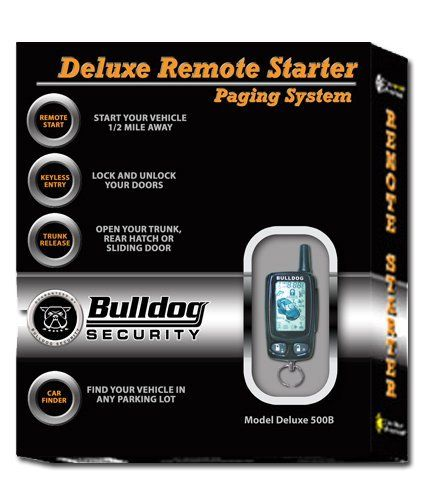 Bulldog Security Deluxe500B Remote Starter with Keyless Entry, LCD Remote and Bypass Module by Bulldog. $90.58. Bulldog Security Deluxe500B Remote Starter with Keyless Entry, LCD Remote and Bypass Module allows you to start your vehicle 1/2 mile away with remote starting.  Lock and unlock you doors with the keyless entry feature or open your trunk, rear hatch or sliding door with the trunk release feature.  In-range indicator allows you to know when the system is with the ...