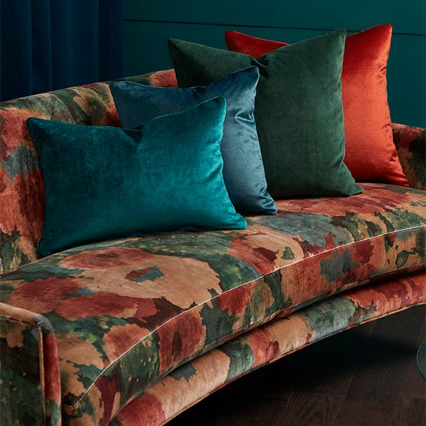 Warwick Fabrics: ALCHEMY upholstery fabric, velvet, commercial, floral, textiles