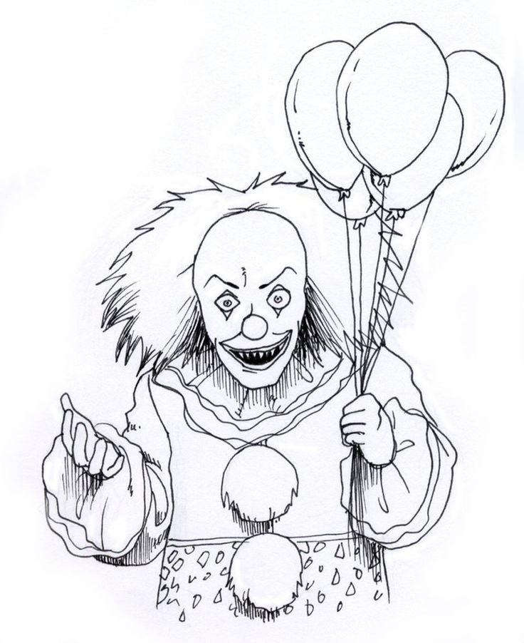 Scary Clown Coloring Pages Free Scary clown drawing