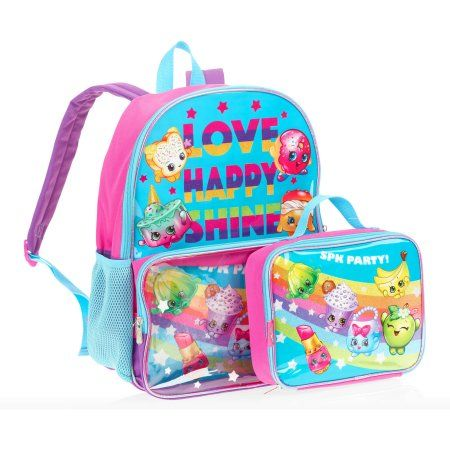 Shopkins Rainbow Party Backpack With Pocket Lunchbox Pink