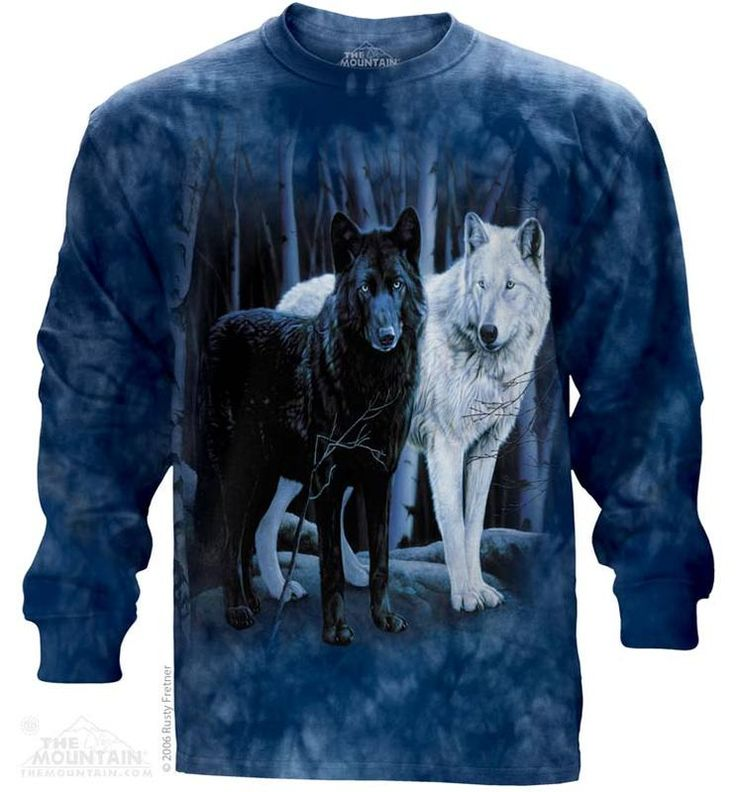 Black and white Wolves Long Sleeve Tee - Womens Clothing - - Women T-Shirt - T-Shirts for women - Mens Clothing - Mens t-shirts - t-shirt for men - Unisex T-Shirts - Cotton T-Shirts - Long Sleeve T-Shirts - Long Sleeve T-Shirt - Christmas Ideas - Presents for Christmas