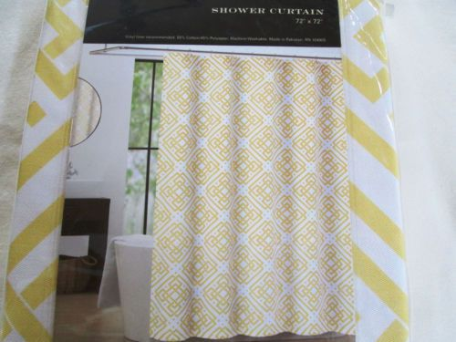 NEW Max Studio Home Fabric Shower Curtain Quatrefoil Puzzle Geo Yello ...
