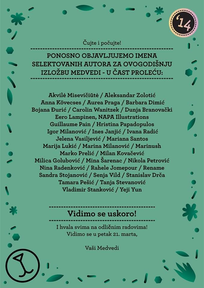 "Eero Lampinen's illustration was selected to the Bear Show in Belgrad, Serbia! ""Medvedi u čast proleću!"" is an exhibition in honour of spring and the theme for the show is BEAR!  More info here: www.medvedi.rs"