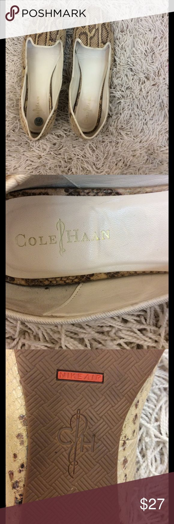Cole Haan for Nike air snakeskin flats size 9 1/2 Nice Cole Haan for Nike air snakeskin brown and cream flats size 9 1/2 Gently worn condition Shows some discoloration in heel area otherwise very clean Cole Haan for Nike air Shoes Flats & Loafers