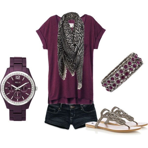 Love the deep purple; not sure about the shoes or watch.