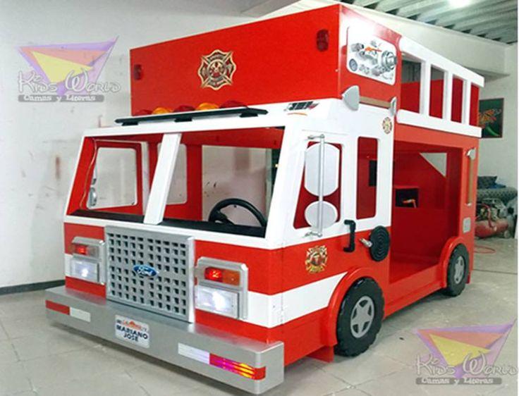 Impresionante camion de bomberos: Habitaciones infantiles de estilo translation missing: mx.style.habitaciones-infantiles.moderno por camas y literas infantiles kids world