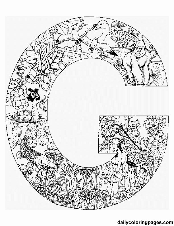 free printable coloring pages--letters that are filled with animals that begin with that letter