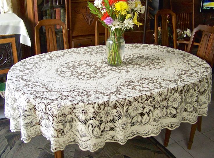 Vintage Quaker Lace Cloth Oval Tablecloth Cottage Decor Table Cover Elegant  Dining Bridal Gift Something Old