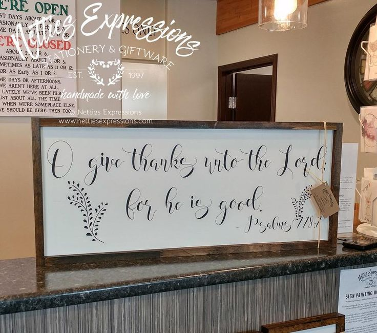 O give thanks unto the Lord 12x30 Framed Wood Sign