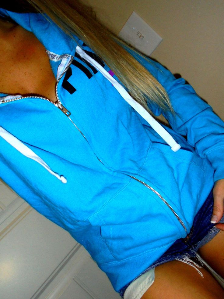Pink by Victoria's Secret blue zip up hoodie sweatshirt euc SMALL