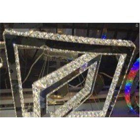 Lustre Led De Cristal Lâmpada Pendente Retangular 2 Aros