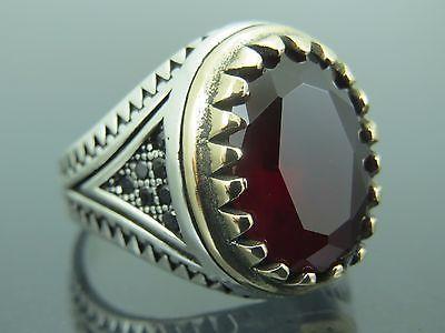 http://rubies.work/0345-sapphire-ring/ Turkish Handmade Ottoman 925 Sterling Silver Ruby Stone Men's Ring …