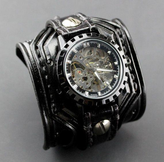 146e Noir de montre en cuir Steampunk, bande de montre en cuir noir, bracelet montre en cuir noir, montre squelette, cadeau pour homme