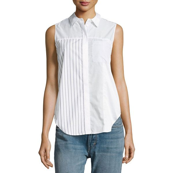 3.1 Phillip Lim Patchwork Button Pocket Blouse ($295) ❤ liked on Polyvore featuring tops, blouses, white, women's apparel tops, white sleeveless blouse, white sleeveless top, relaxed fit shirt, white spread collar shirt and no sleeve shirt