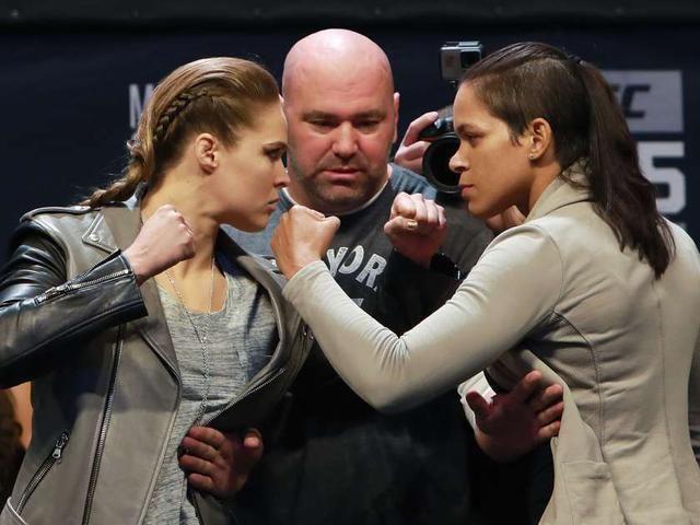 Women's Bantamweight Champion Amanda Nunes faces off with Ronda Rousey after UFC