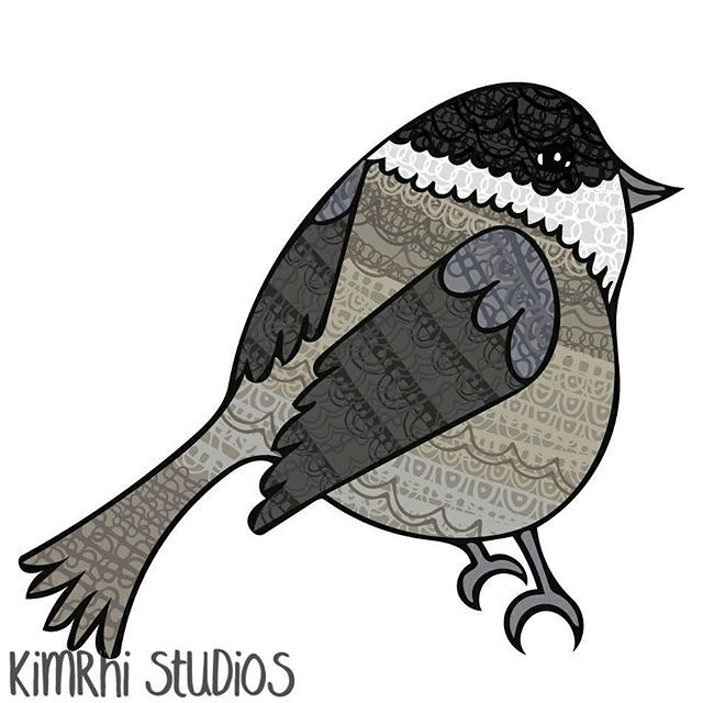 Day 175/365 of the #365animalfaces series is the Marsh tit who are particularly fond of sunflower seeds! #kimrhistudios #bird #animalart #illustration #digitalpainting #pattern