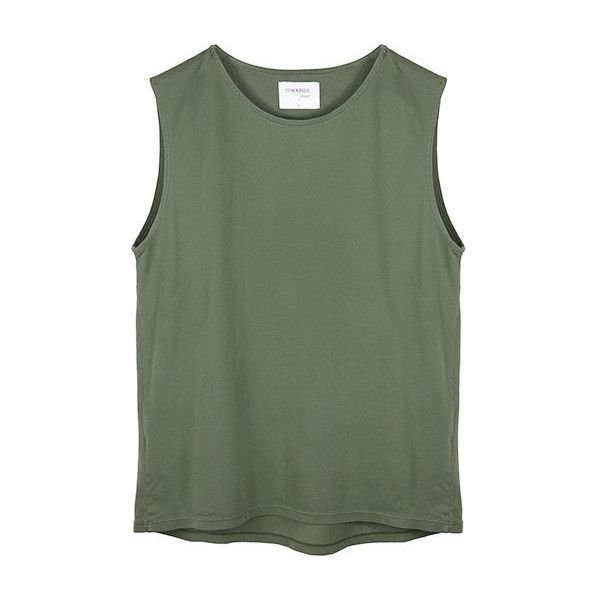 KARLIE TANK OLIVE ($45) ❤ liked on Polyvore featuring tops, shirts, tank tops, tanks, ripped tops, torn shirt, green tank top, distressed shirt and olive shirt