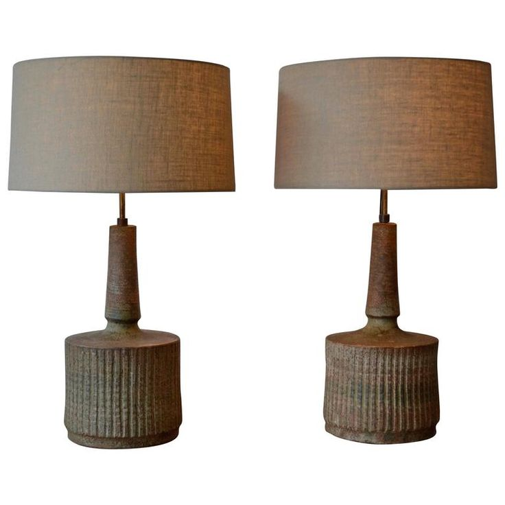 Massive Stonewear Mid-Century Table Lamps by Mobach, Netherlands, 1950s
