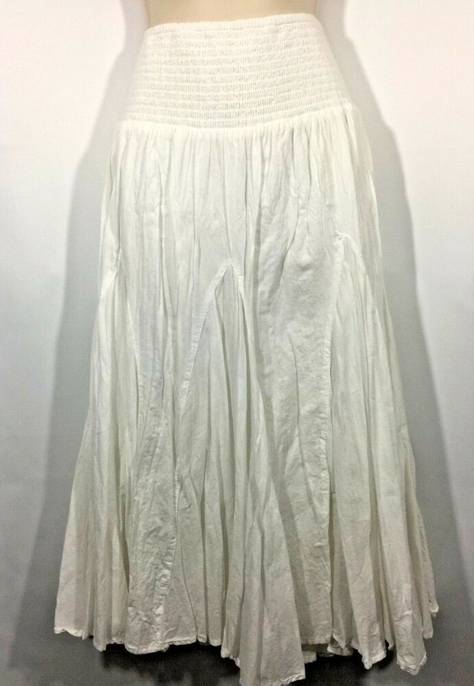 b0c1f1ae2 Women's Bohemian Crinkle Cotton Linen Skirt Elastic Waist Bouncy Casual  White #Dressbarn #Bohemian #Casual