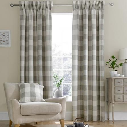 Dunelm Skye Check Natural Brown Lined Pencil Pleat Curtains (228cm x 137cm)