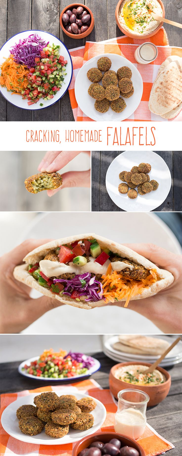 Have you tried making falafels at home? Try it, they are easy and taste fantastic. They are crispy and golden on the outside and soft on the inside. Best enjoyed with heaps of salad, hummus and tahini sauce. ♡