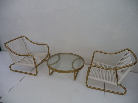 Rare Brown Jordan Kailua Chairs And Table Gold Yacht Cording Mid Century Modern  Outdoor Patio Furniture