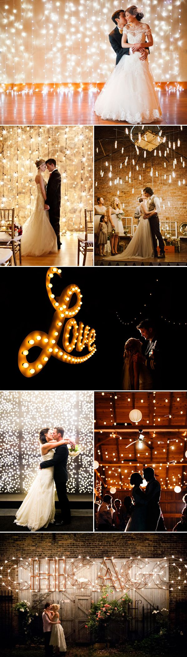 Indoor Light Wedding Backdrop Decoration Ideas / http://www.deerpearlflowers.com/39-magical-string-hanging-light-decorations-wedding-backdrop/