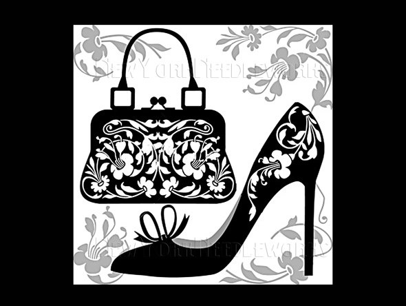 Shoe and Purse Pattern, Silhouette Pattern, Shoe Art, Cross Stitch Pattern, Silhouettes from NewYorkNeedleworks on Etsy. $8.50, via Etsy.