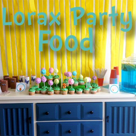 Lorax Party Food this is a cute party idea too, this is travs fave movie