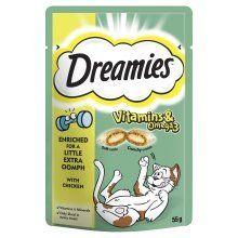 Aus der Kategorie Dreamies  gibt es, zum Preis von EUR 26,67  Dreamies & trade; Vitamine & Omega-3-Katzen-Leckerli mit Huhn 55g weiche Innenseite, knackig außerhalb Angereichert für ein wenig mehr Pep mit Vitaminen und Mineralstoffen Nur 2kcal in jeder Behandlung! Keine künstlichen Aromen Irresistible Leckereien mit ein wenig mehr oomph.Deliciously knackig auf der Außenseite, weich von innen; Katzen einfach nicht den guten Geschmack von Dreamies & trade wider ;. Irresistible dualer Textur…