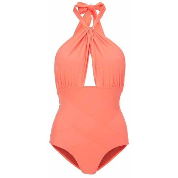 Lilliput & Felix - Amaranthus Swimsuit in Hot Coral (£240) ❤ liked on Polyvore featuring swimwear, one-piece swimsuits, bikini, swimsuits, bathing suits, swim, one piece swim suit, cut out one piece swimsuits, one piece bikini and 1 piece swimsuit