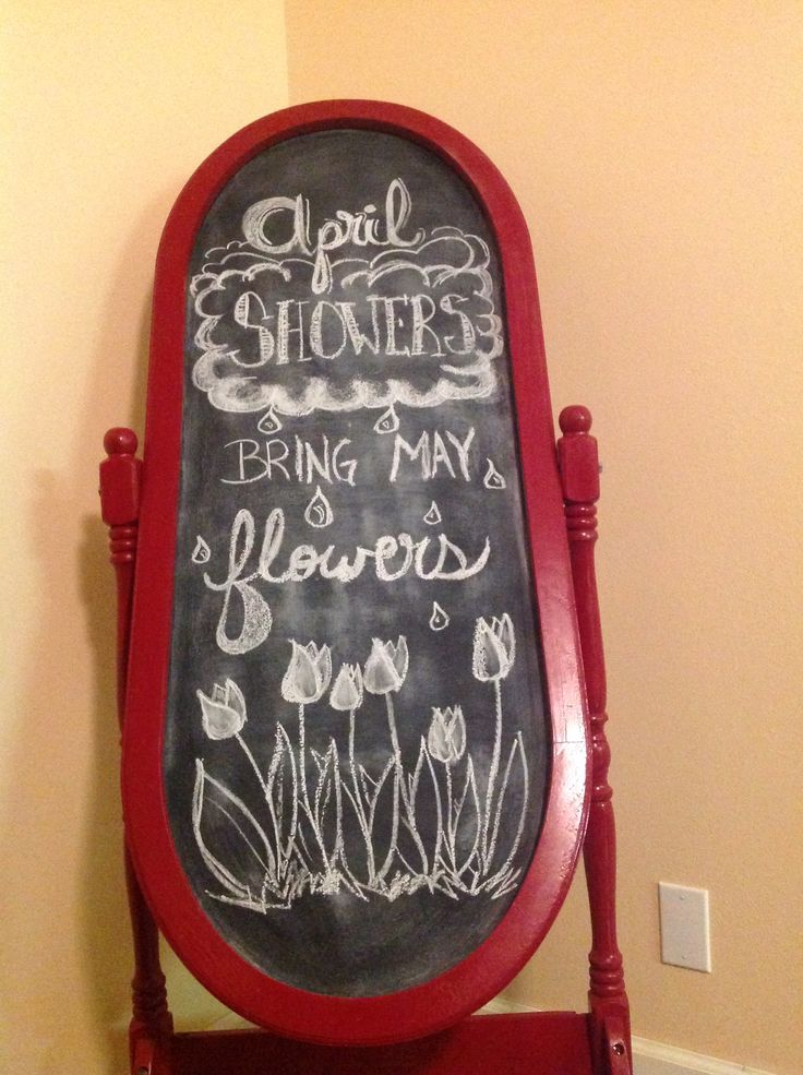 Chalkboard made from a broken full length mirror, glossy red spray paint, and chalkboard spray paint.