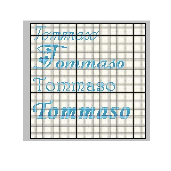 Schema punto croce tommaso alfabeto punto croce for Nomi in corsivo gallery