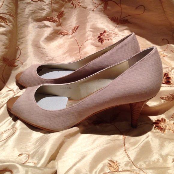 "Tahari beige neutral pumps Brand new, never worn, Tahari fabric beige 2.5"" pumps with natural wood colored heel. Peep toe. Comfortable! Tahari Shoes Heels"