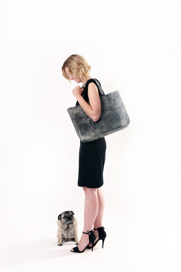 Leather Handbag. By apostrophe' studio. Cross City in Antique B+W