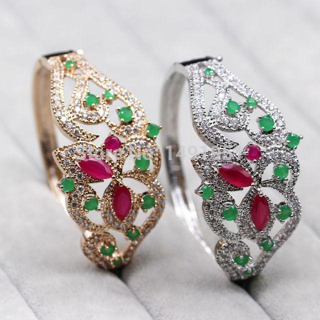 Linda Oca-out 18 K Banhado A Ouro Natural Ruby & Emerald AAA CZ Pulseira 2 cores D04-2