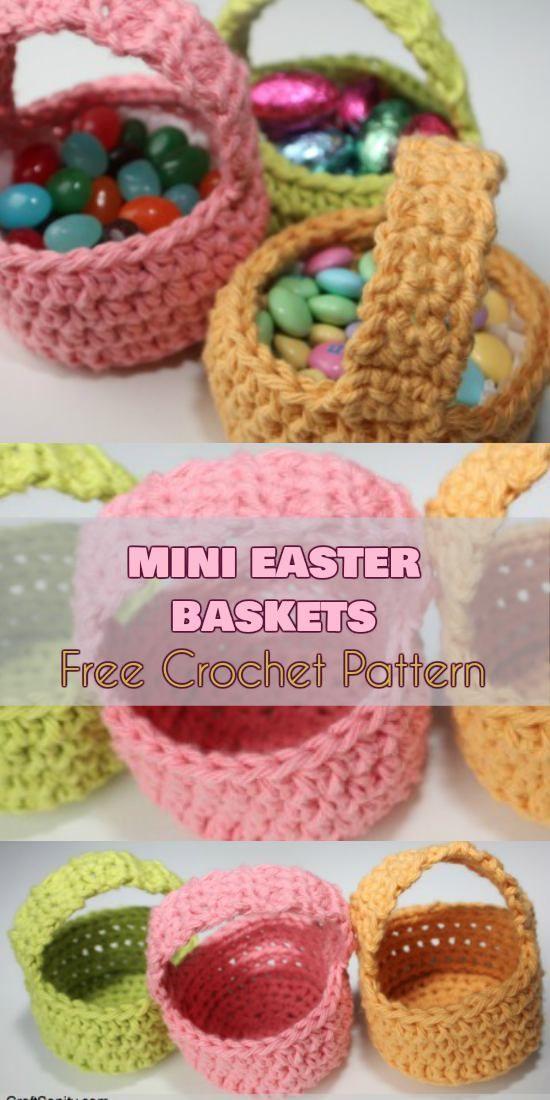 Mini Easter Baskets [Free Crochet Pattern]