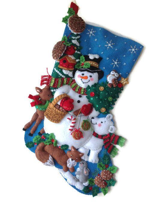 Finished Bucilla Christmas Stocking  Woodland by PinsandNeedles0, $84.95